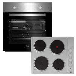Beko Integrated Fan Oven & Solid Hob Pack BSF211SX